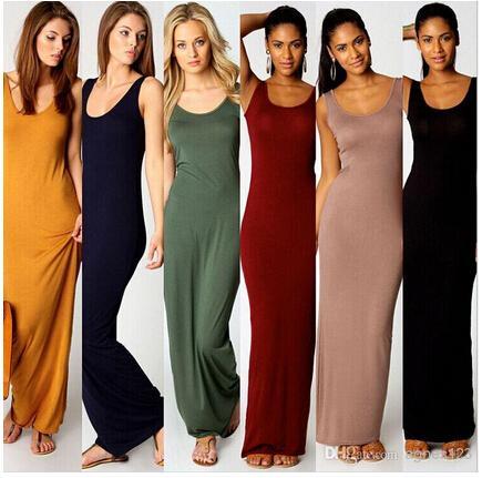 Women Summer Dress Tank Top Ankle Length Long Maxi Dress Ladies ...