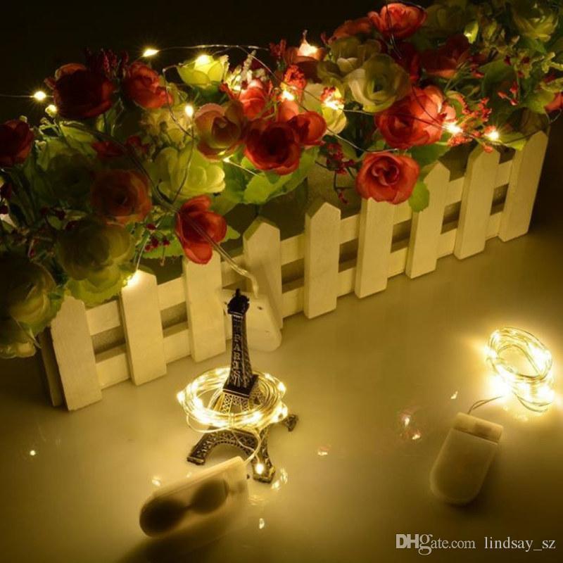 LED Streifen 2M 20LED Knopfzelle Batteriebetriebene Lichterkette Kupfer Outdoor Urlaub Weihnachten Hochzeit Halloween Dekoration