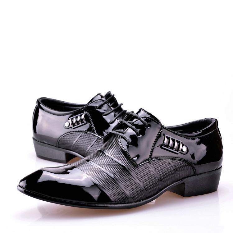 Fashion Men Patent Leather Shoes For Men Lacing Dress