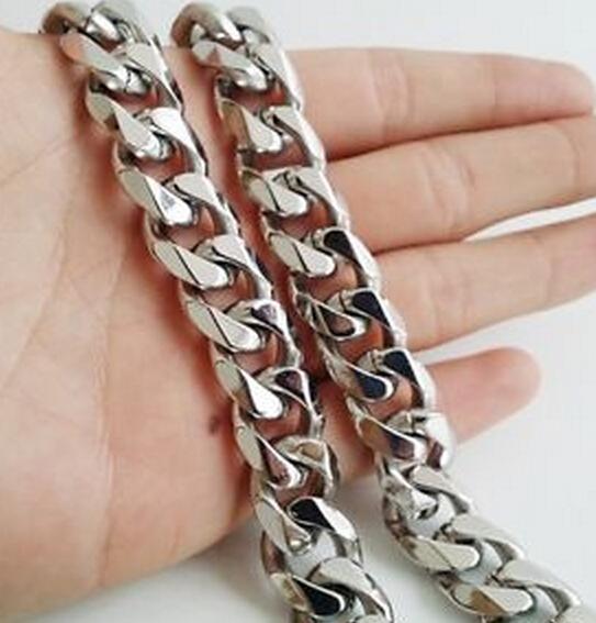 A estrenar para vacaciones regalo alta calidad plata acero inoxidable 316L moda bordillo enlace cadena collar hombres frescos Bling 13mm 20 '' - 28 ''