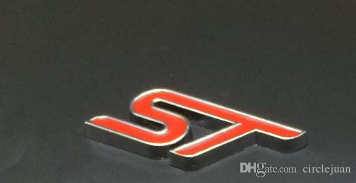 20 adet / grup Toptan 3D Metal ST Amblemler Araba Kırmızı Siyah Mavi Araba Styling Için Rozetleri