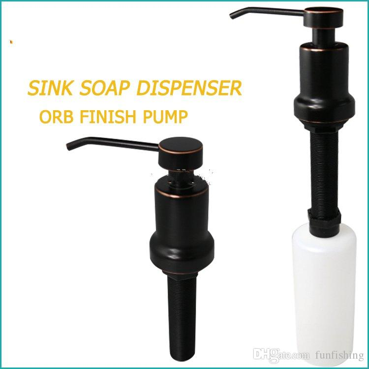 Foam Sink Soap Dispenser Durable 304 Stainless Steel 17OZ 500ml PE Bottle Soap Dispenser easy refillable from above counter for kitchen