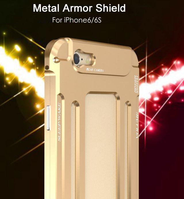 Für apple iphone 6 6s plus aluminium metall rüstung schild schwere dual layer hard case abdeckung