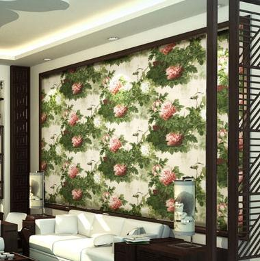 Modern Chinese Peony Flower Wallpaper Living Room Bedroom Bedside Study Porch Retro Green Background