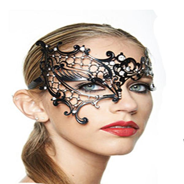 fashion black phantom metal rhinestone laser cut halloween masquerade costume half mask sexy masks party makeup tools eyes wide shut masks face mask for - Masquerade Costumes Halloween