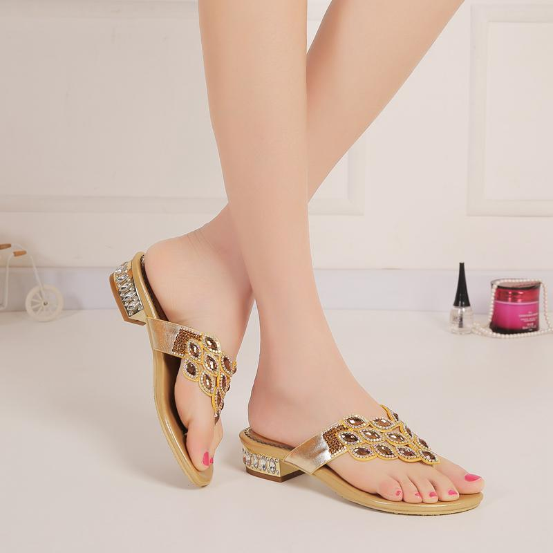 f8487d3ddc0 Gold Purple Rhinestones Slippers Low Heel Cut Out Sandals For Brides Flip  Flops 2.5cm Heel Crystals Shoes Women Slip Ons US Size 4 11 Boots Sale  Western ...