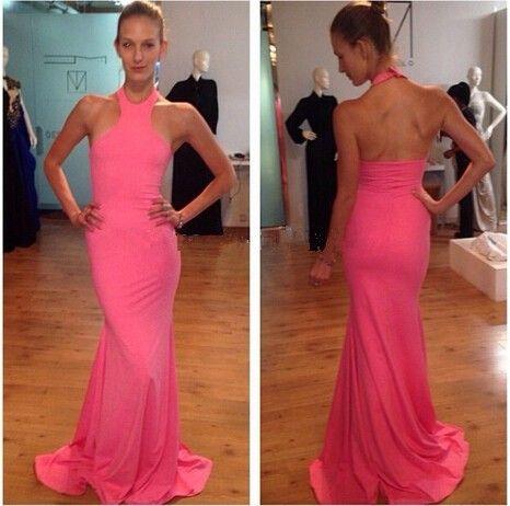 Water Melon Mermaid Evening Dresses Halter Sexy backless FLoor Length Vestidos de Festa Amazing Prom Gowns 2016 Cheap Wemen Dress