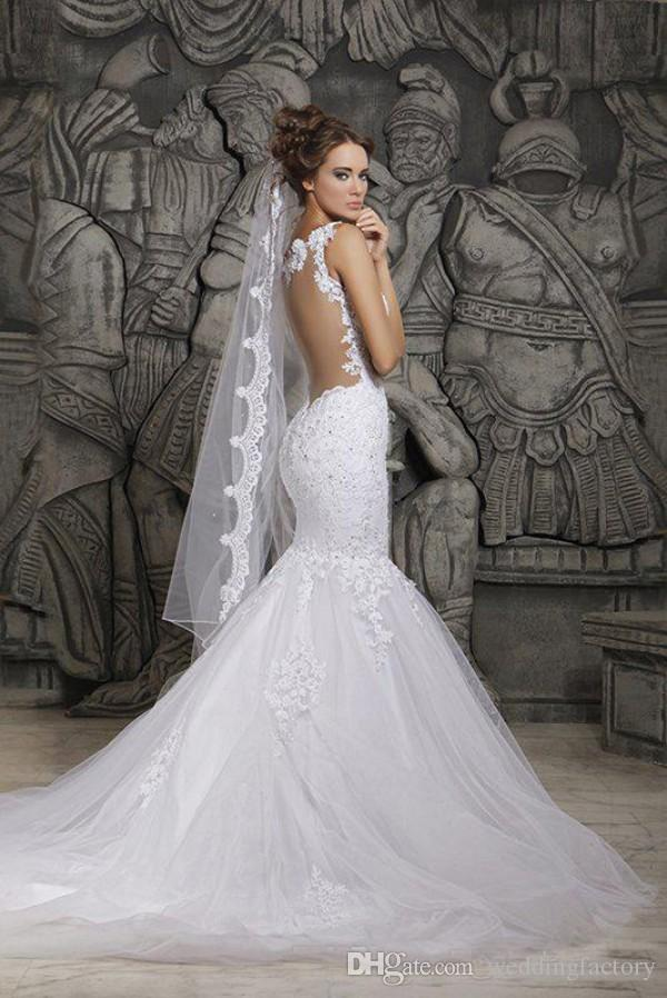 Hot Sale Mermaid Wedding Dresses with Detachable Train Beaded Lace Appliques Sheer Back Bridal Gowns Spaghetti Straps Custom Made