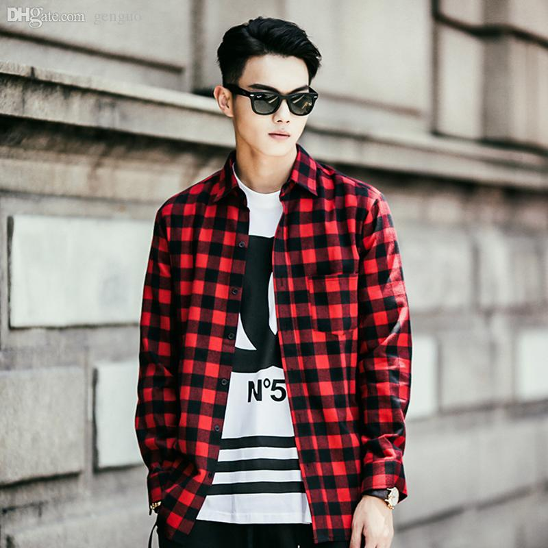 2019 Wholesale New Fashion Men Shirt 2015 Flannel Turn Down Collar