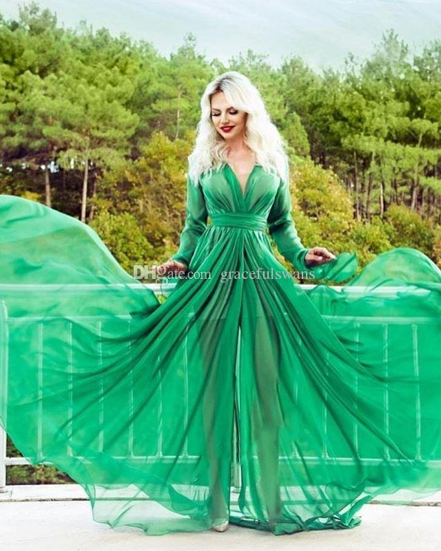 Chiffon Speaker Long Sleeve Formal Dresses V Neck Green A-Line Evening Dresses Ruched Party Dresses Long Prom Gown