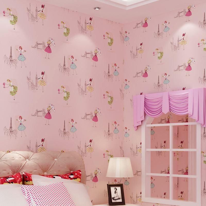 10*0.53 M Paris Girls Bedroom Wallpaper Cartoon Princess Childrenu0027S Room  Warm And Lovely Wallpaper Background Wallpaper Wholesale Free Wallpaper 4  Desktop ...