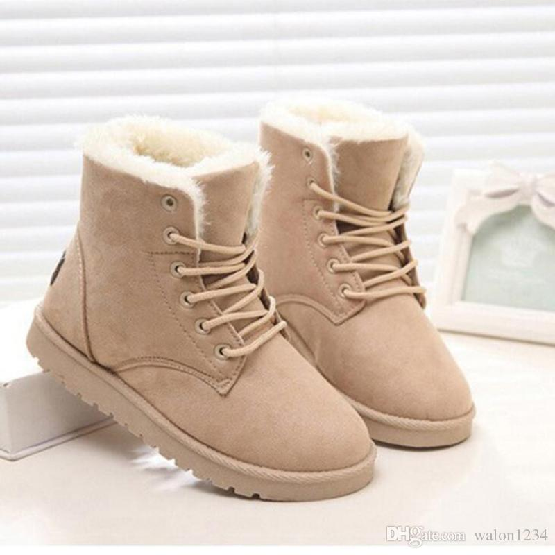 db01228962e Classic Women Winter Boots Suede Ankle Snow Boots Female Warm Fur Plush  Insole High Quality Botas Mujer Lace Up Shoes Online Combat Boots From  Walon1234