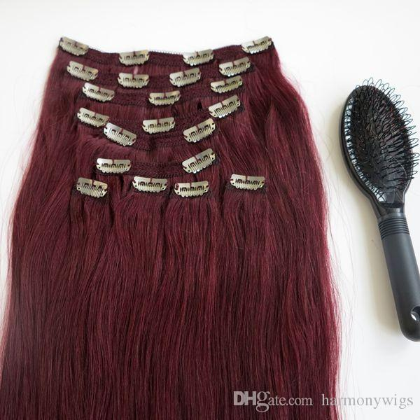 160g 20 22inch clip in human hair extensions brazilian hair 99j see larger image pmusecretfo Choice Image