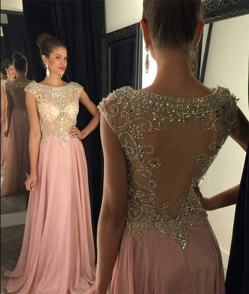 Evening Dresses 2016 New Illusion Neck Cap Sleeves Crystal Beading Chiffon Summer Beach Vestidos Floor Length Prom Dress Cheap Party Gowns