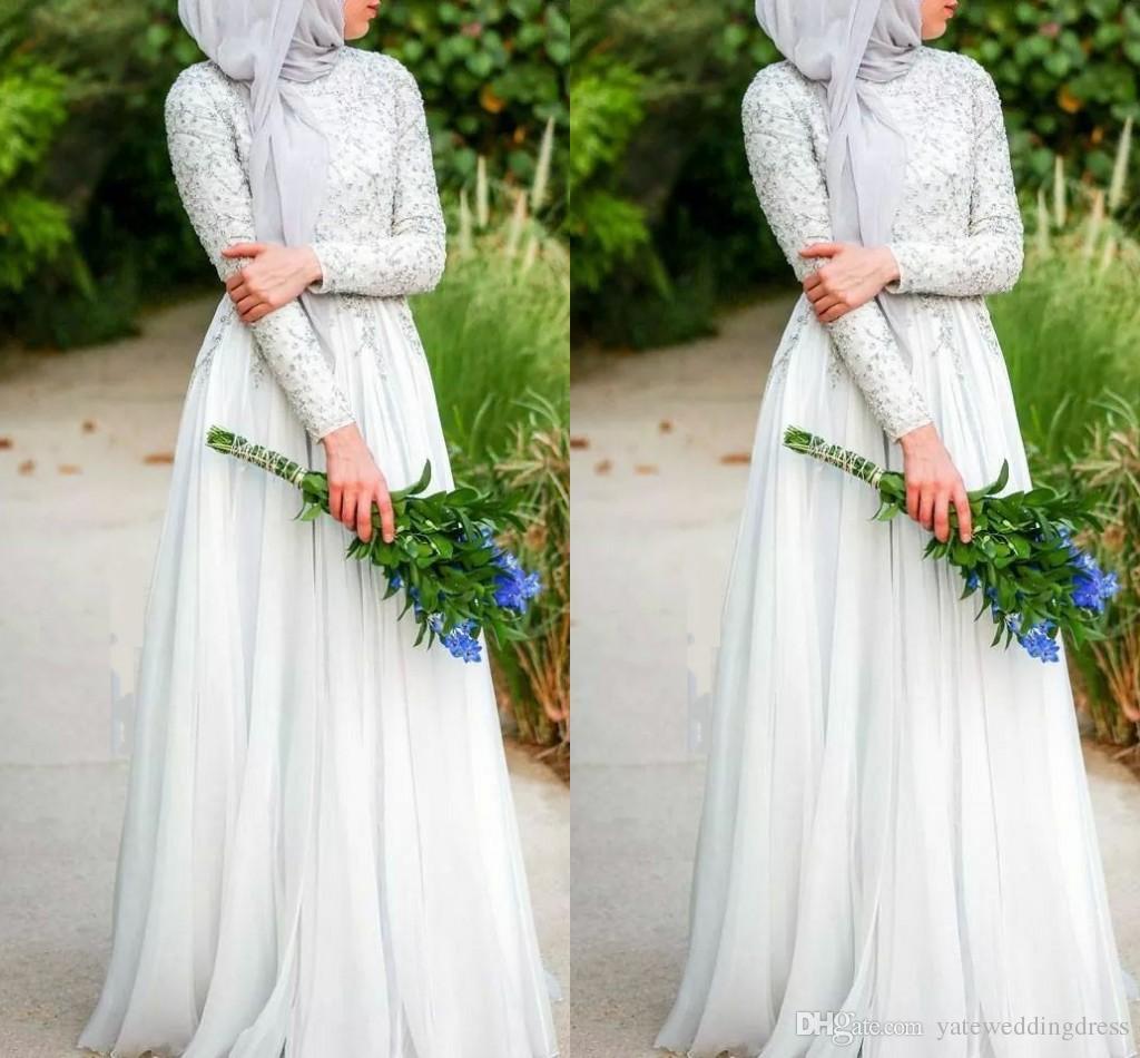 ハハビのシンプルな純粋な白いビーズC巻き毛のイスラムのウェディングドレスC字山のハイネックの長袖シフォンイスラムのウェディングドレス
