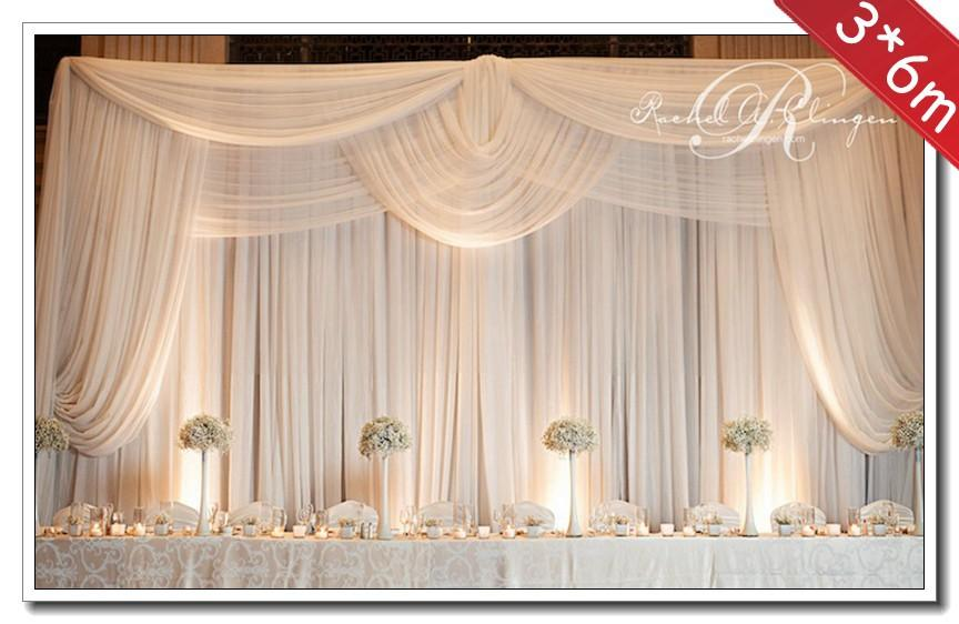 3 6m wedding decoration backdrop with swags wedding for Background decoration for wedding