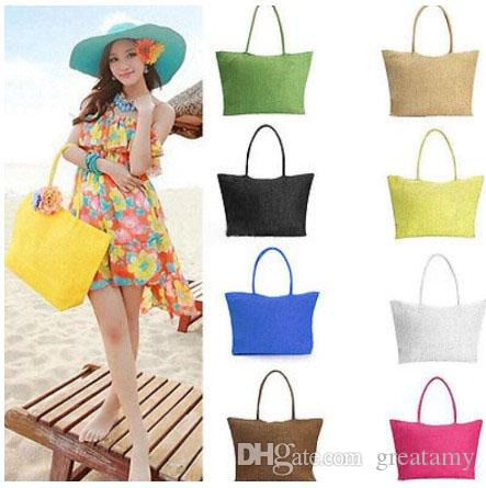 Women Summer Straw Weave Shoulder Totes Shopping Lady Beach Bag Purse Handbag Straw Shoulder Tote Shopper Purses 17 colors