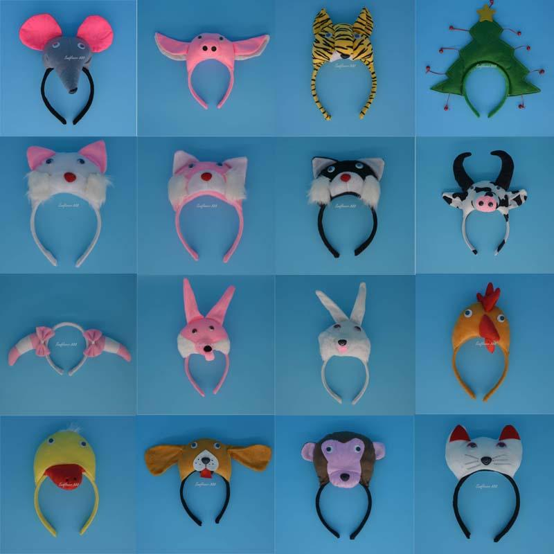 3D Animal Cattle Dog Dalmatian Chicken Ear Headband Halloween Party Pig Giraffe Tiger Dog Monkey Headbands