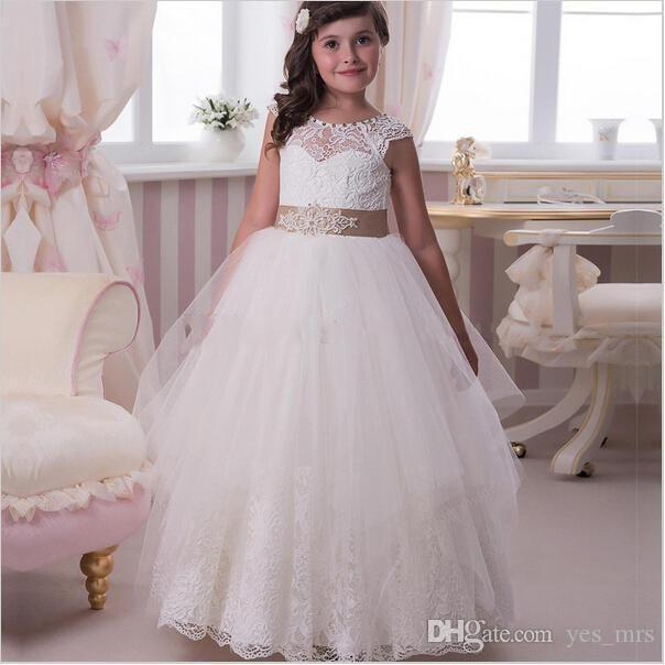 e5e3aea7833 2016 New Cute Hot Flower Girls Dresses For Wedding Ivory White Lace Short  Sleeves Sashes Bow Party Ball Gowns Children Girl Pageant Gowns Silk Flower  Girl ...