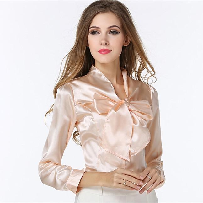 Online Cheap Women Dress Shirt Blouse Sexy Ol Fashion Bow Flounced ...