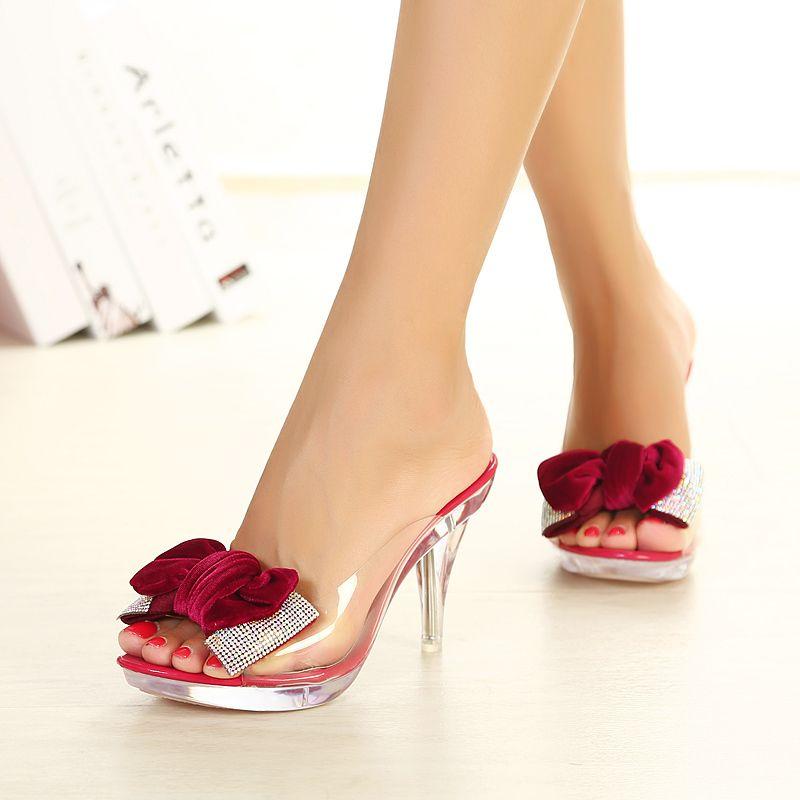 Women S Summer Transparent Burgundy Slippers Peep Toe