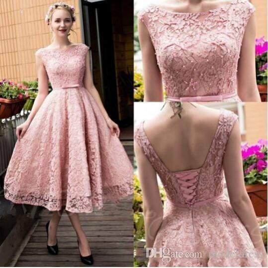 Charming Tea Length Lace Prom Dresses 2018 Bateau A Line Full Lace Modest Short Evening Party Pageant Gowns Vestidos Customized Cheap Made