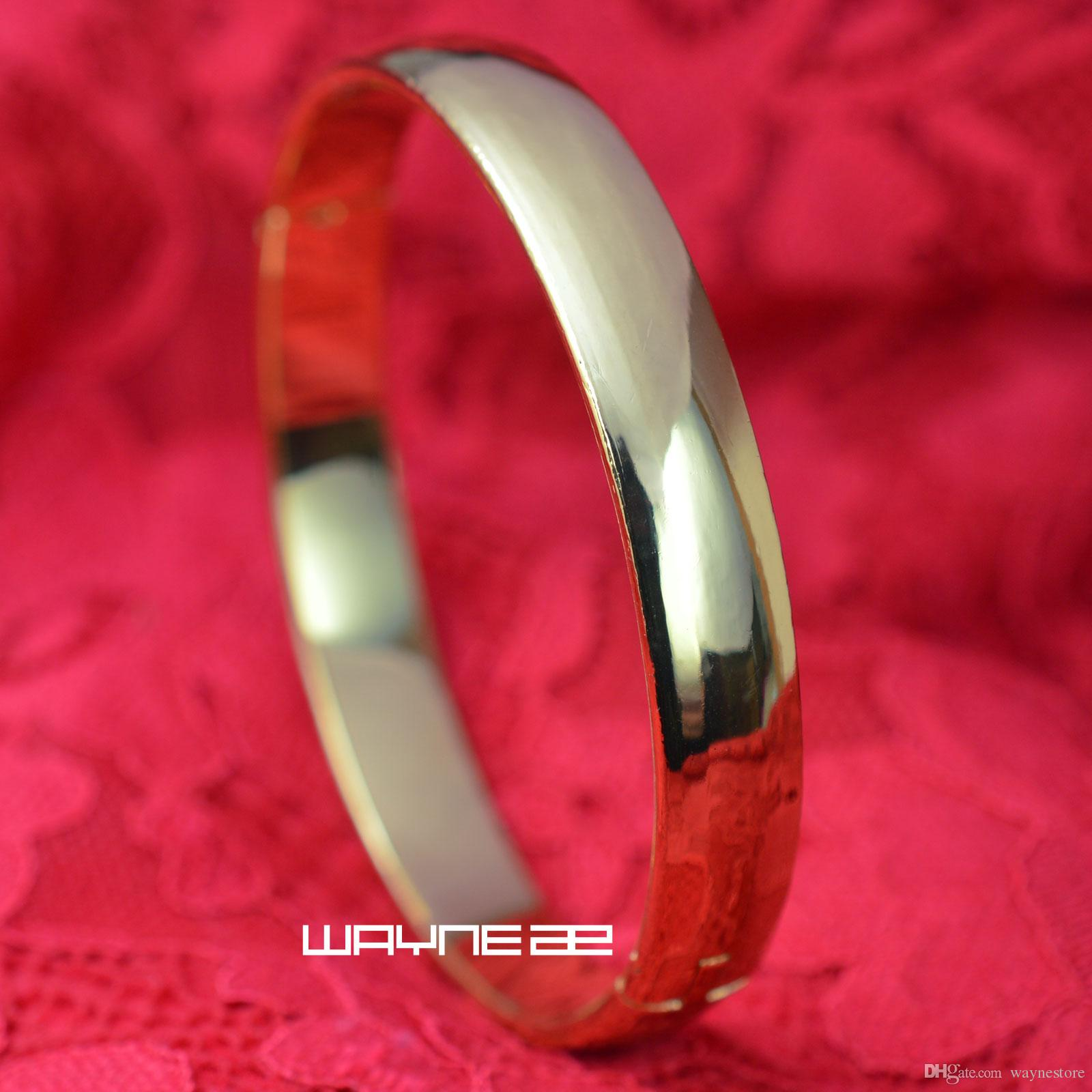 18k yellow Gold GF smooth solid womens bangle Bracelet G126 60mm x 60mm