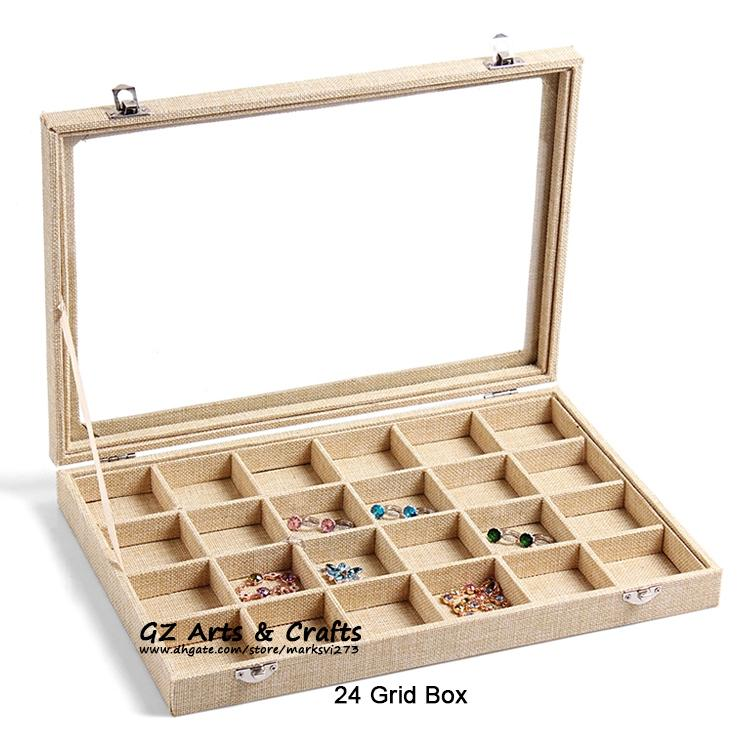 Grote linnen sieraden doos oorbellen kettingen armbanden ring sieraden display box sieraden lade sieraden organizer opslagstandhouder