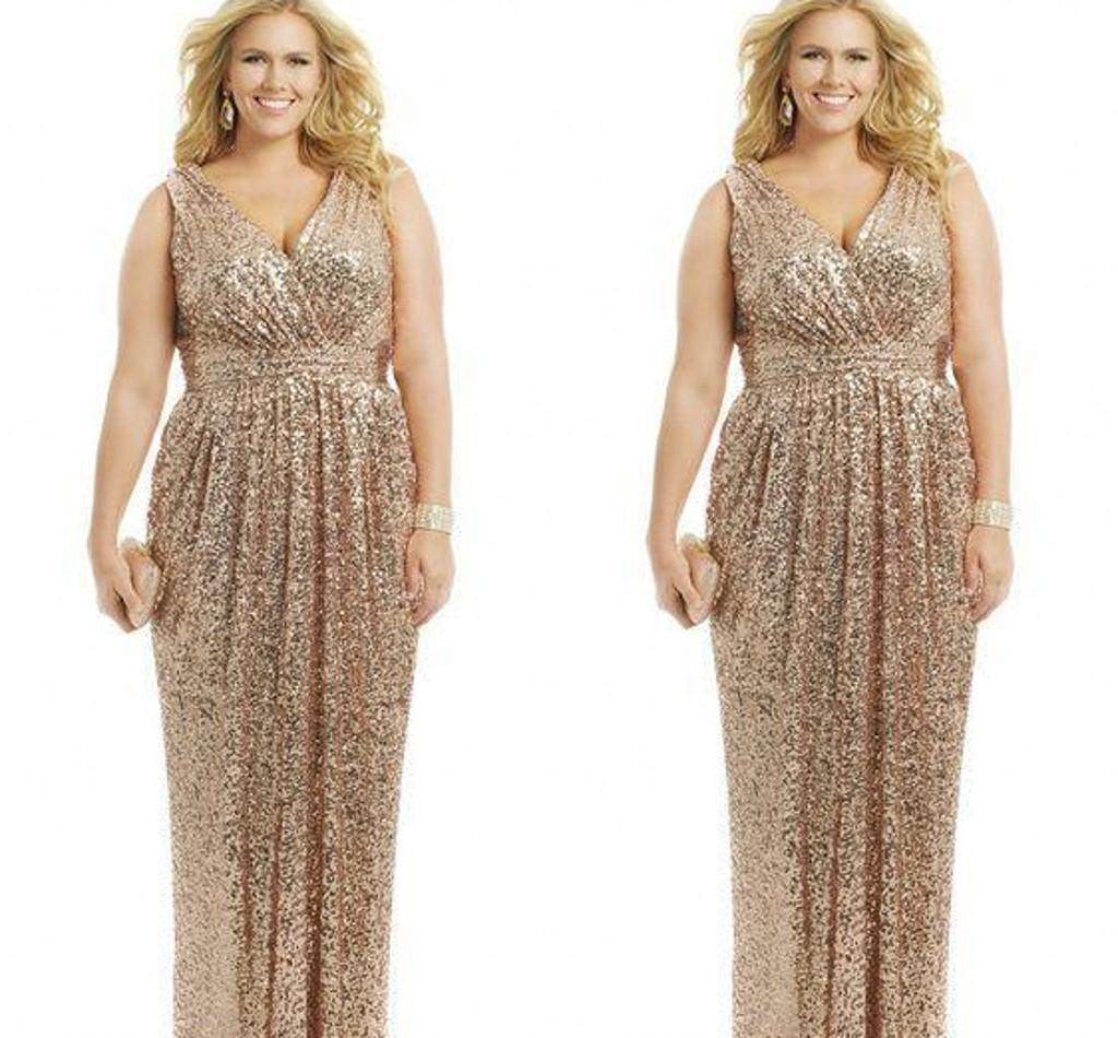 2015 Sexy Plus Size Formal Dresses Gold Sequin Sheath V-Neck Capped ...