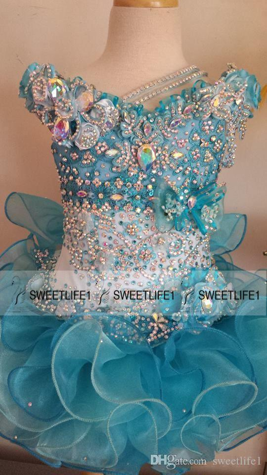 2015 Cute Little Girls Pageant Dresses Beaded Crystals Sequins Ball Gown Organza Cute Baby Cupcake Custom Made Ruffles Flower Girls' Dresses