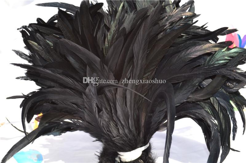 Gratis frakt Partihandel 100st / Parti 12-14INCH Svart Coque Feather Rooster Tail Feather Cock Feather for Dostumes