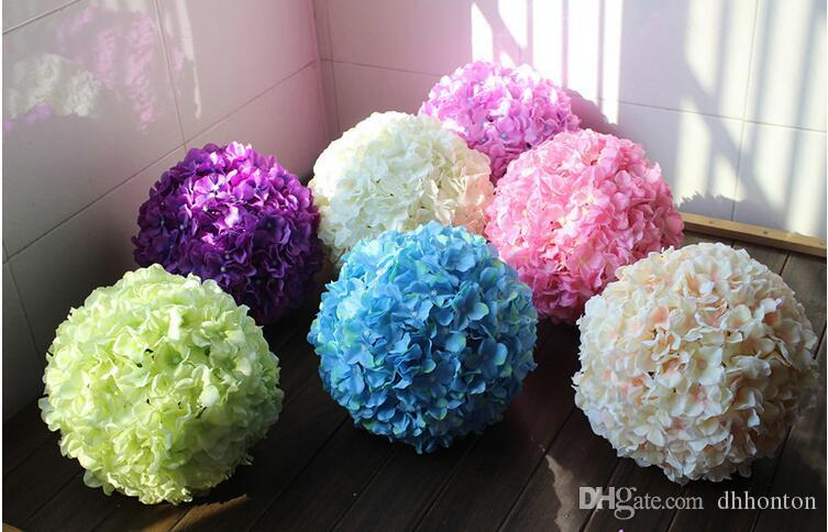12 inch artificial hydrangea flower ball pincushion wedding ball kissing ball wedding supermarket deoration hangings FB008