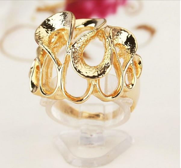 Exaggerated 18 K Gold Plated Hollow Out Net long Finger Rings Jewelry for Women Men Wedding Jewelry 2015 Wholesale