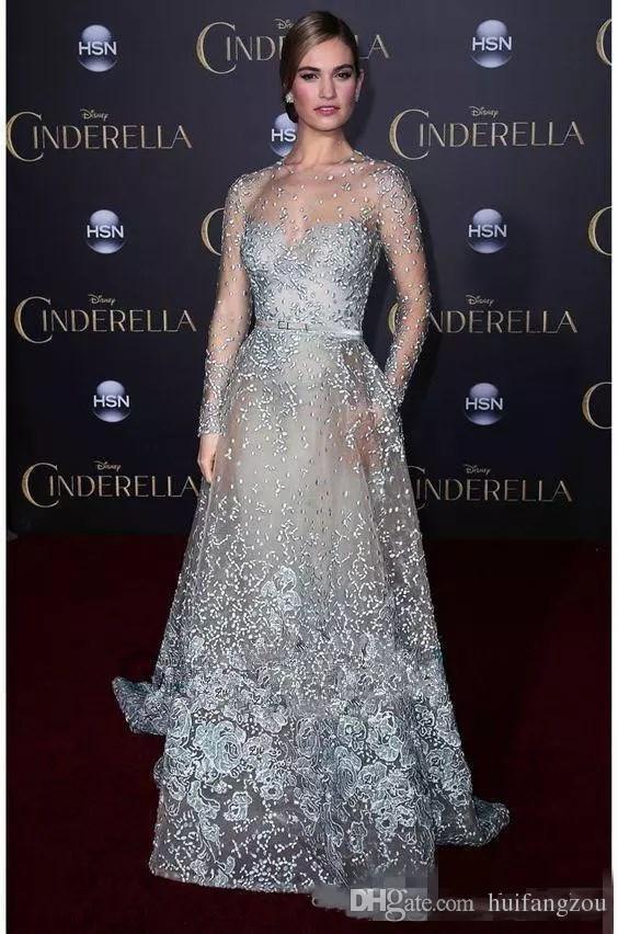 Illusion Elie Saab Abendkleider Kostenloser Versand Red Carpet Abendkleider Modest Sky Blue Spitze Applique Perlen Sexy Langarm Abendkleider