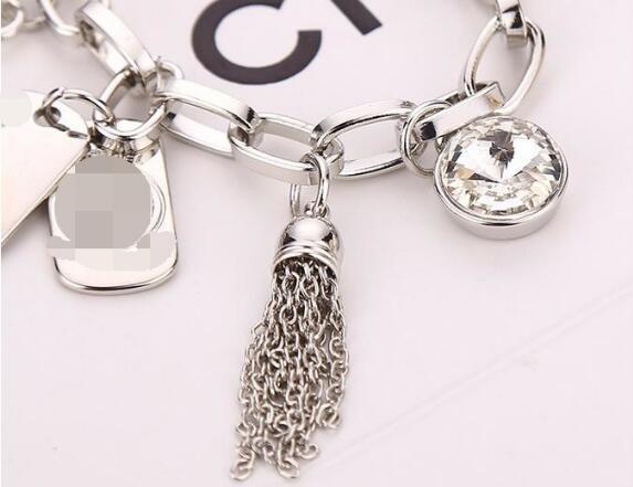DHL الحب سبائك مفتاح أساور كريستال مع قلب الحب جوهرة فضة مطلية بالذهب المعلقات مجوهرات سحر الإسورة مجوهرات الرجال النساء