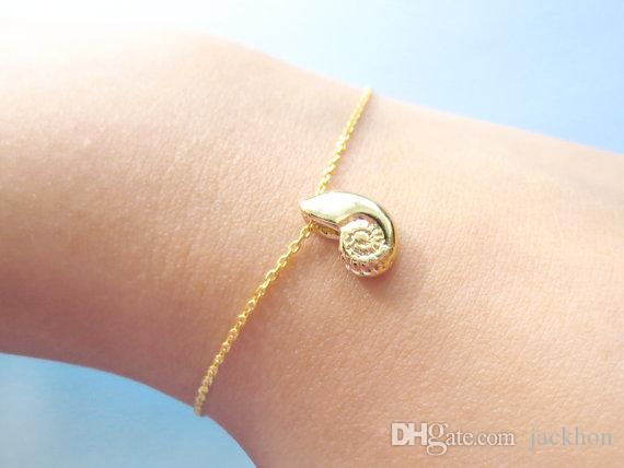 Cute Seashell Bracelet Ariel Voice Shell Bracelet Spiral Swirl Sea Snail Bracelet Ocean Beach Conch Bracelets