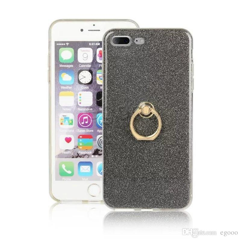 Glitter Stickers Holder Case Ring Buckle Bracket Stand Silicone Case For iPhone X XS Max XR 8 7 6 Plus 5 5C