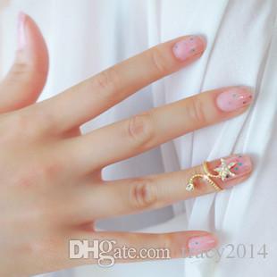 2015 novo anel de ângulo de estrela do mar anel de unha criativo anel de anéis populares anéis conjuntos anel de abertura anel de prata de ouro dedo anelar de prego