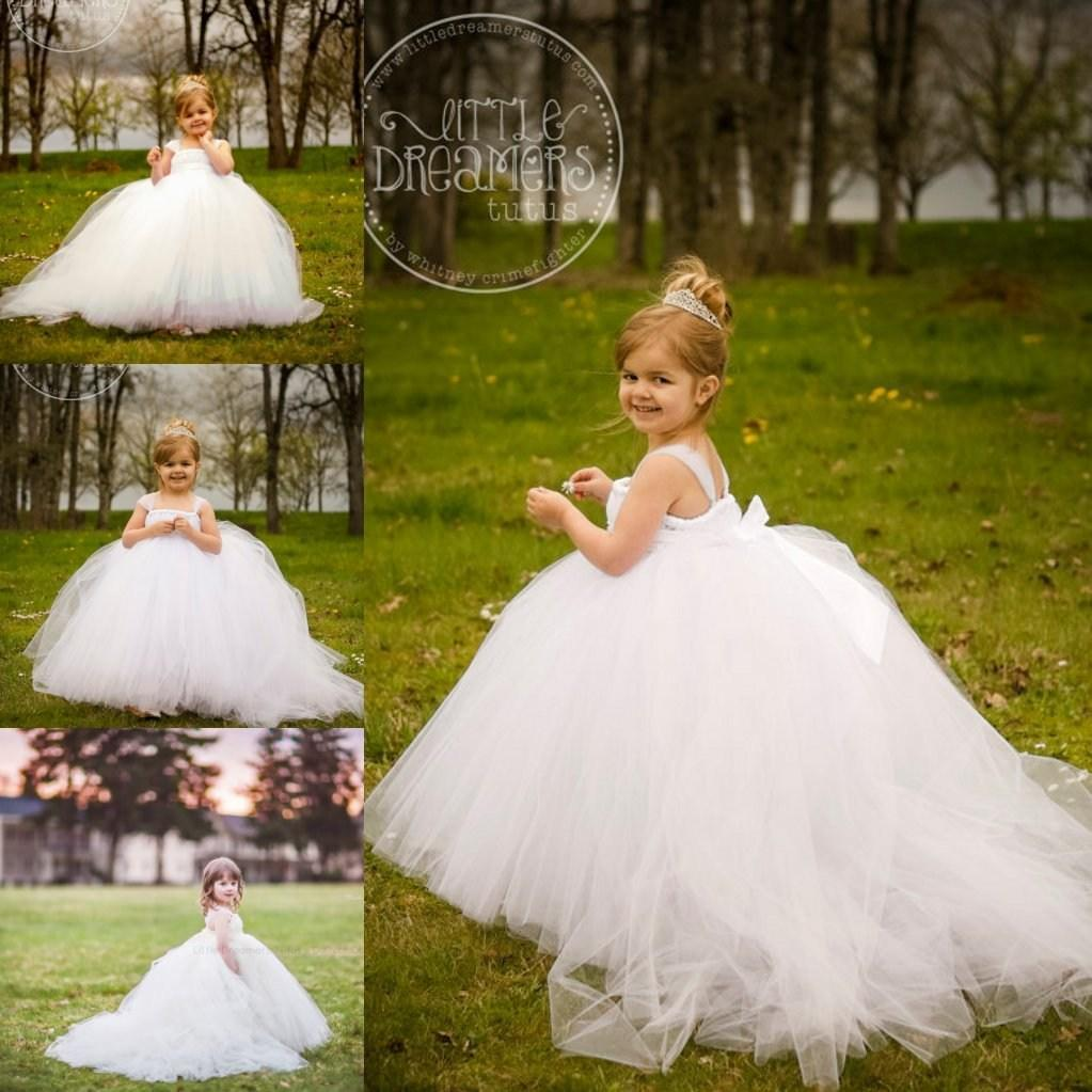 White Tulle Detachable Train Flower Girls Dresses 2015 New Lovely