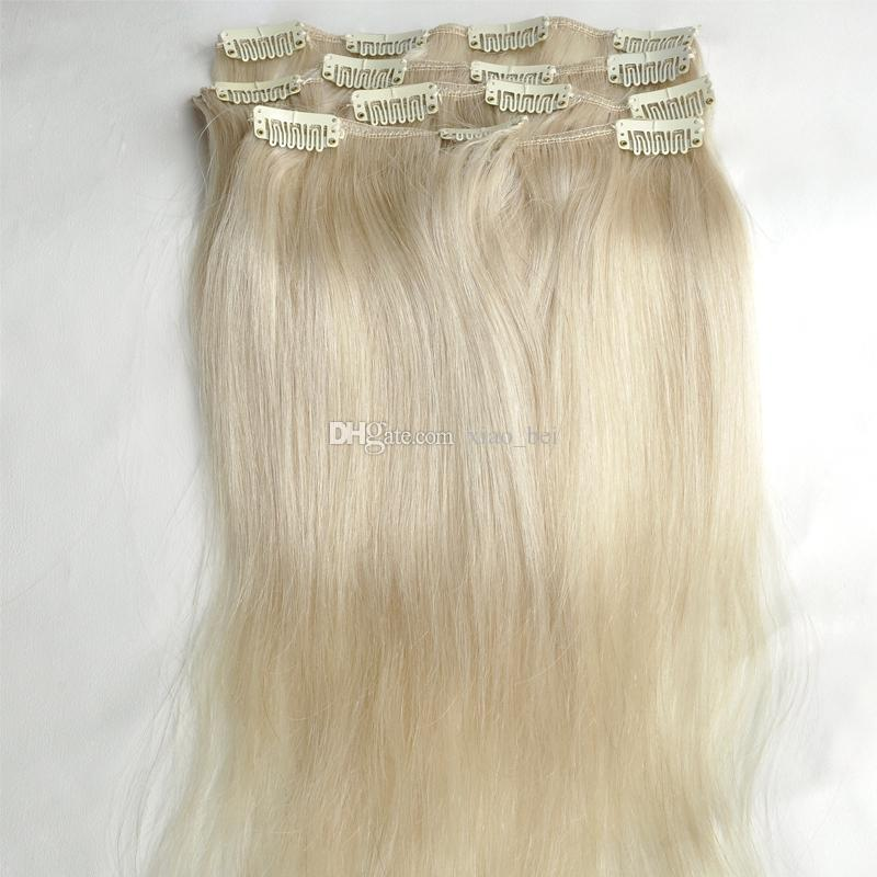 Brazilian hair straight human hair clip in extensions virgin hair brazilian hair straight human hair clip in extensions virgin hair extensions weave 16 26 color 60 platinum blonde pmusecretfo Images