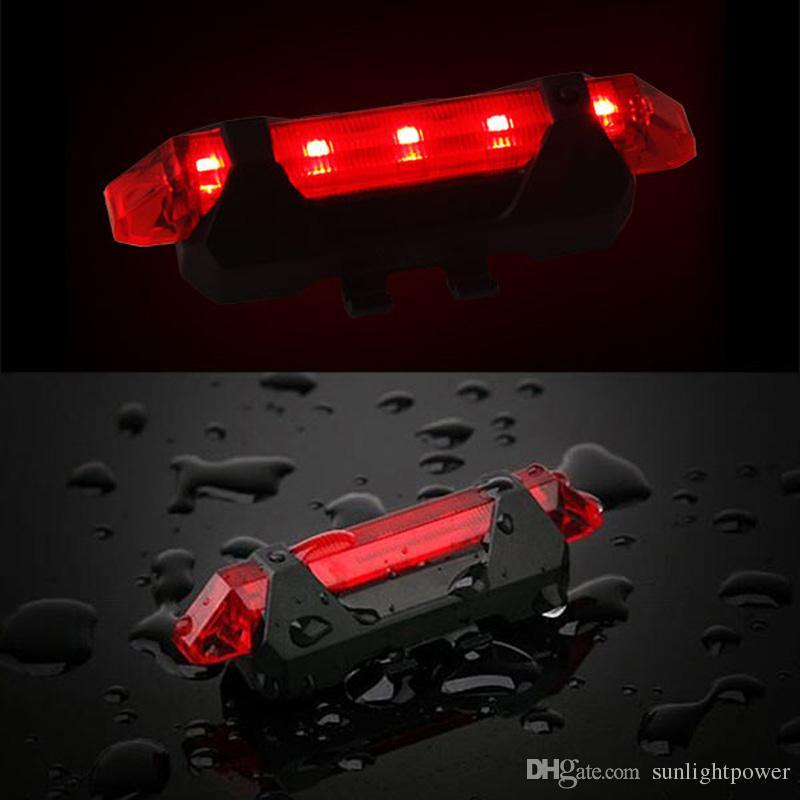 Spia di avvertimento di riciclaggio della bici della spia della coda anteriore rossa rossa della modalità 5-LED della bicicletta Trasporto libero impermeabile