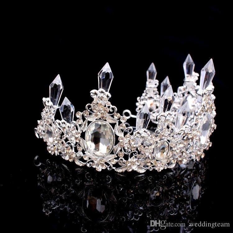 Lüks Kristaller Barok Düğün Taçlar Küpe Gümüş Boncuklu Gelin Tiaras Rhinestone Kafa Parçaları Ucuz Saç Aksesuarları Pageant Taç