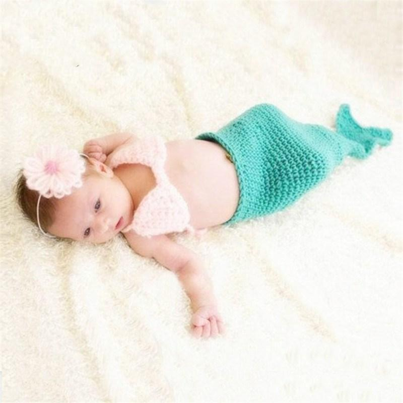 2018 european style baby photography props handmade crochet wool clothing mermaid manual sets newborn photo clothes accessories from opps mybaby