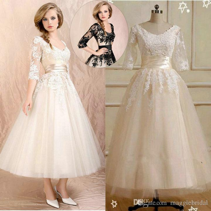 Cheap 3 4 Sleeve Wedding Dresses: Discount 3/4 Long Sleeves Tea Length Wedding Dresses