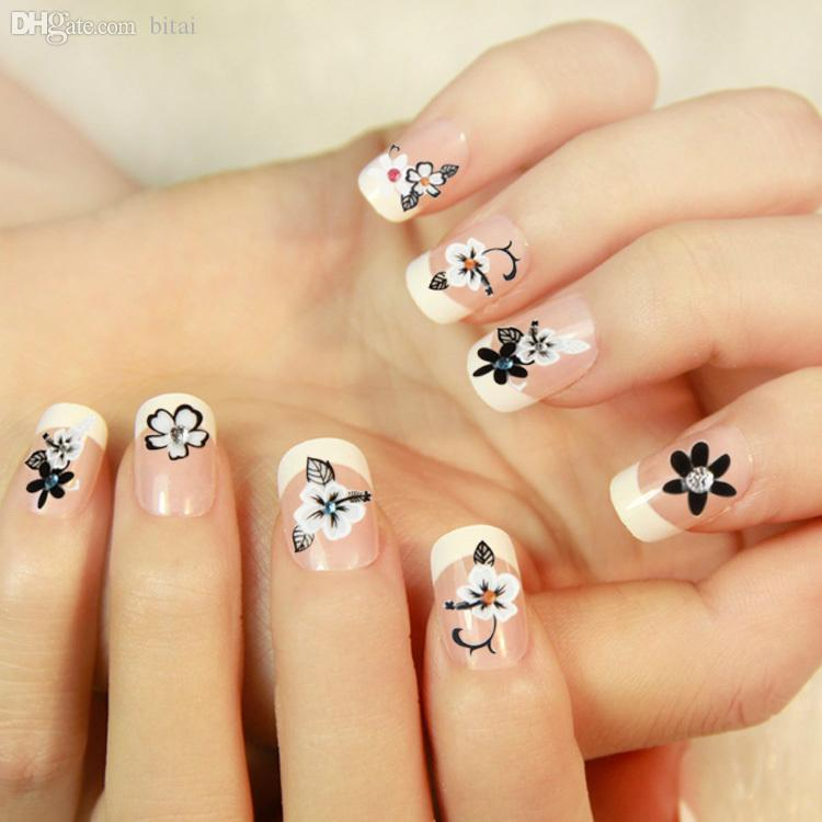 Wholesale Fancy Nail Art Sticker Crystal Decal Hibiscus Flower Nail ...