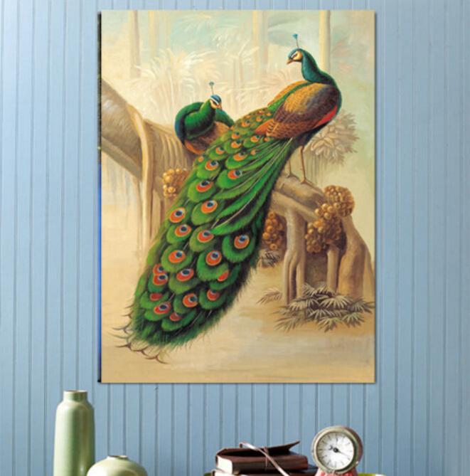 Ücretsiz kargo Yüksek Kaliteli Modern duvar sanatı Tavuskuşu Yağlıboya Tuval Baskılar Boyama Resimleri Dekor Oturma Odası Için T / 737
