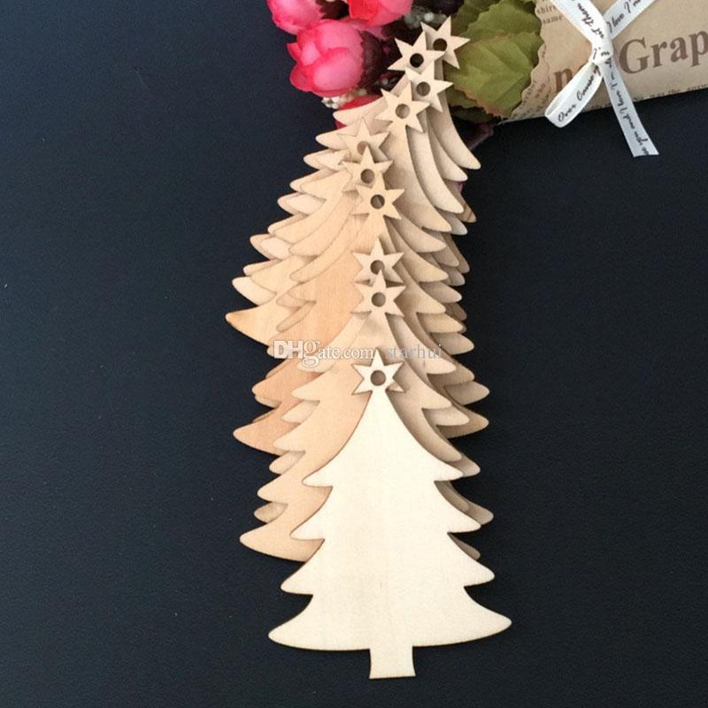 Christmas Tree Ornaments Wood Chip Snowman Tree Deer Socks Hanging Pendant Christmas Decoration Xmas Gift Crafts WX9-123