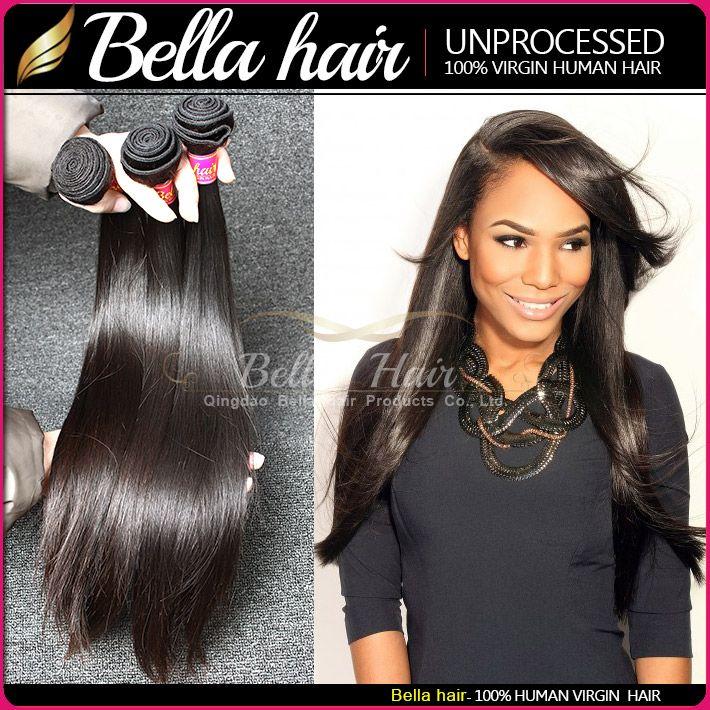 Brasilianska hårbuntar 3bundles rak kropp djupa vaveloose våg Virgin mänskliga hårväftförlängningar dubbel väft bellahair