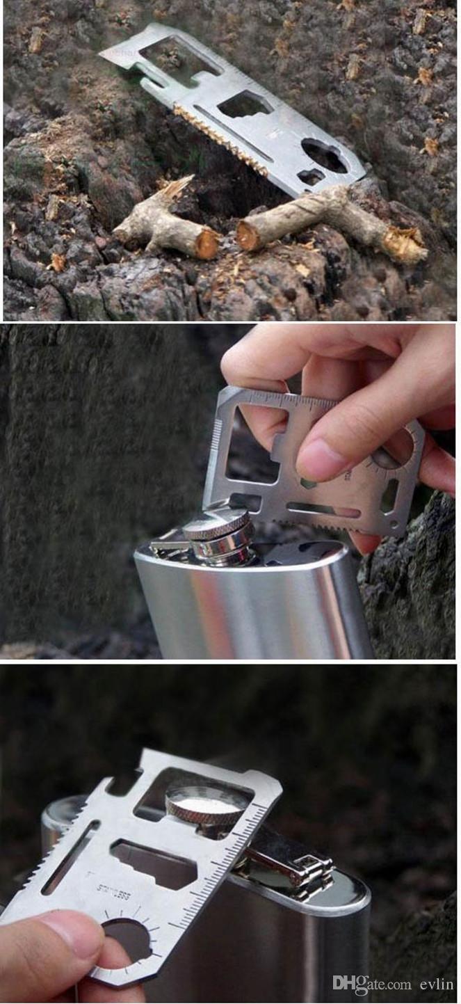 11 في 1 أدوات متعددة الوظائف بطاقة بطاقة سكين البقاء في الهواء الطلق أداة عملية متعددة الأغراض سابرل بطاقات مع غمد جلد