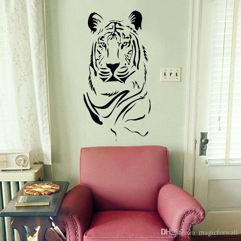 Новый Творческий Тигр Стены Искусства Настенной Росписи Декор Гостиной Спальня Обои Украшения Наклейки Kinglike Тигр Главная Уникальные Украшения Деколь